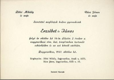 Zölei Erzsébet és Rácz János esküvői meghívója