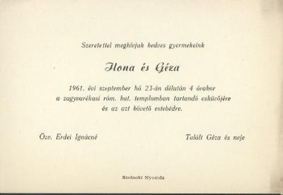 Erdei Ilona és Talált Géza esküvői meghívója