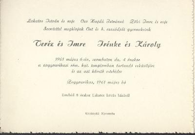 Teréz és Imre, valamint Irénke és Károly esküvői meghívója