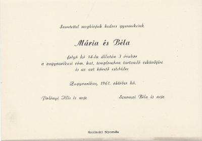 Polónyi Mária és Szurmai Béla esküvői meghívója