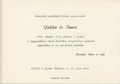 Jolán és Imre esküvői meghívója