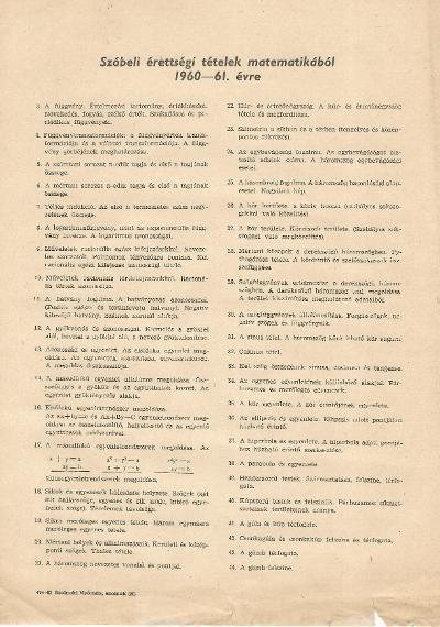 Szóbeli érettségi tételek matematikából 1960-61. évre