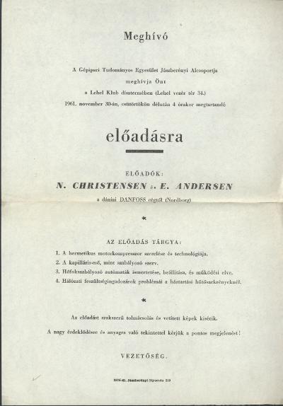 Meghívó N. Christensen és E. Andersen előadására