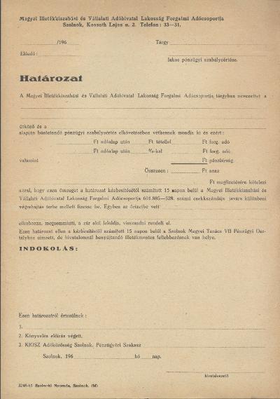 Megyei Illetékkiszabási és Vállalati Adóhivatal Lakosság Forgalmi Adócsoportjának Határozata