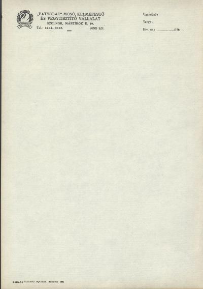 """""""Patyolat"""" Mosó, Kelmefestő és Vegytisztító Vállalat nyomtatványa"""