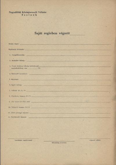 Szolnoki Nagyalföldi Kőolajtermelő Vállalat nyomtatványa