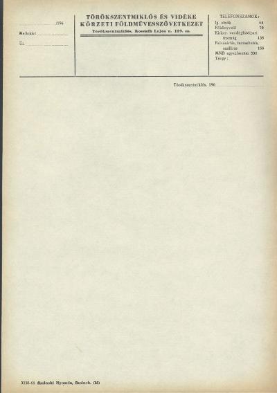 Törökszentmiklós és Vidéke Körzeti Földművesszövetkezet nyomtatványa