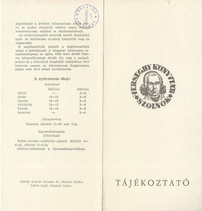 A szolnoki Verseghy Ferenc Könyvtár tájékoztatója