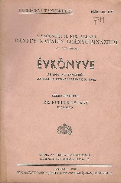 Lead Évkönyv az 1939-40. tanévről