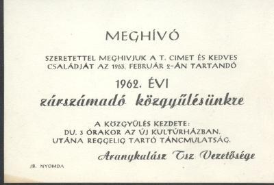 Meghívó az 1962. évi zárszámadó közgyűlésre