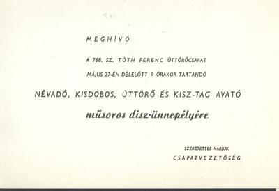Meghívó a Tóth Ferenc Úttörőcsapat ünnepségére