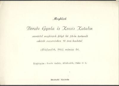 Borsós Gyula és Kocsis Katalin esküvői meghívója