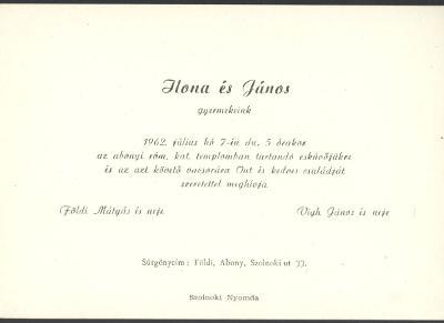 Földi Ilona és Vigh János esküvői meghívója