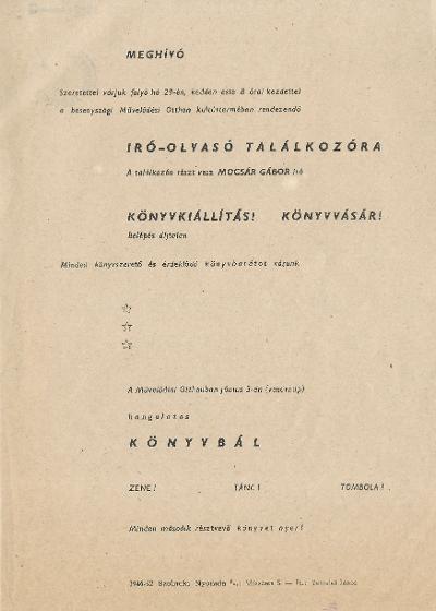 Meghívó Mocsár Gábor író-olvasó találkozójára