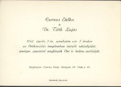 Csernus Etelka és Dr. Tóth Lajos esküvői meghívója