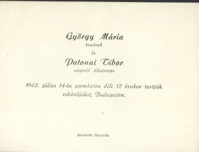 György Mária és Patonai Tibor esküvői meghívója