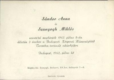 Sándor Anna és Szunyogh Miklós esküvői meghívója