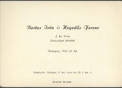 Bartus Irén és Hegedűs Ferenc esküvői értesítője