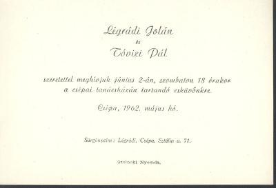 Légrádi Jolán és Tóvizi Pál esküvői meghívója