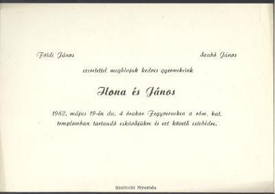 Földi Ilona és Szabó János esküvői meghívója