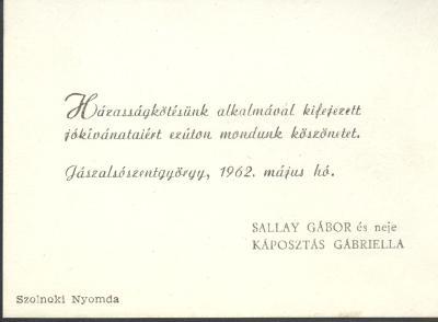 Sallay Gábor és neje, Káposztás Gabriella köszönetnyilvánító kártyája