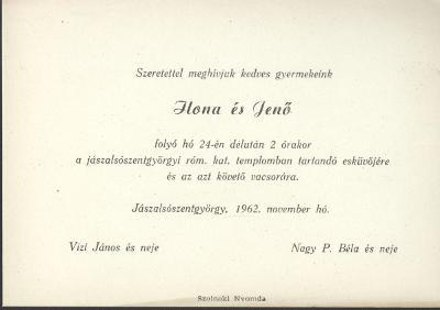 Ilona és Jenő esküvői meghívója