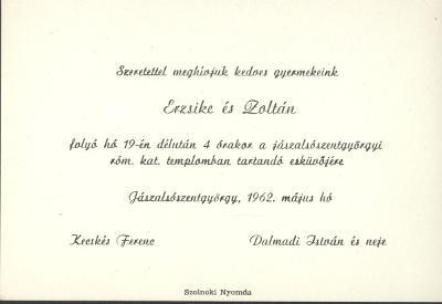 Erzsike és Zoltán esküvői meghívója