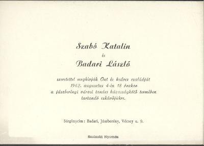 Szabó Katalin és Badari László esküvői meghívója