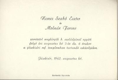 Nemes Szabó Eszter és Molnár Ferenc esküvői meghívója