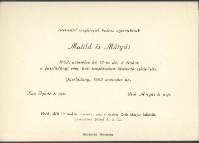 Kun Matild és Cseh Mátyás esküvői meghívója
