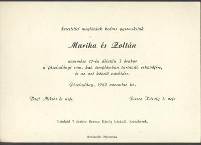 Marika és Zoltán esküvői meghívója