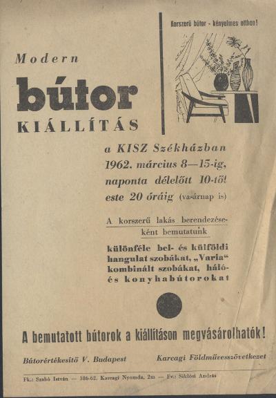 Modern bútorkiállítás a karcagi KISZ Székházban