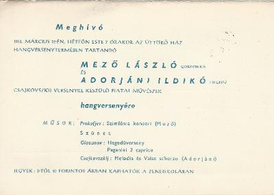 Meghívó Mező László (gondonka) és Adorján Ildikó (hegedű) Csajkovszkij versenyre készülő fiatalok hangversenyére