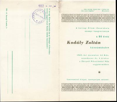 A karcagi Állami Zeneiskola és az Országos Filharmónia ünnepi hangversenye a 80 éves Kodály Zoltán köszöntésére