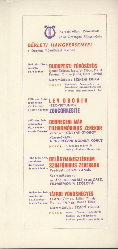 A karcagi Állami Zeneiskola és az Országos Filharmónia bérleti hangversenyei
