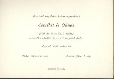 Bakos Erzsébet és Molnár János esküvői meghívója