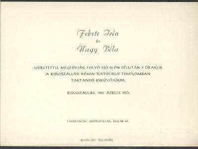 Fekete Irén és Nagy Béla esküvői meghívója