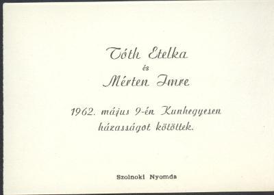 Tóth Etelka és Mérten Imre házasságot kötöttek