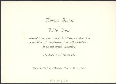 Kovács Ilona és Tóth Imre esküvői meghívója