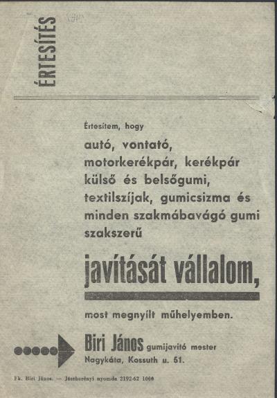 Biri János gumijavító mester szórólapja