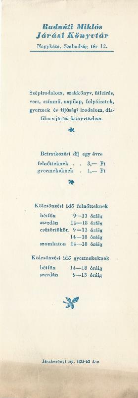 Radnóti Miklós Járási Könyvtár könyvjelzője