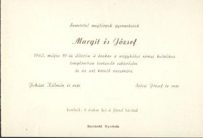 Juhász Margit és Szécsi József esküvői meghívója