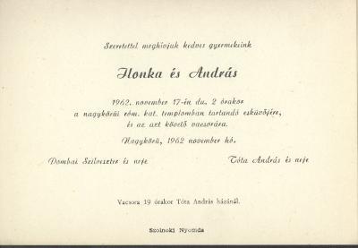 Dombai Ilonka és Tóta András esküvői meghívója