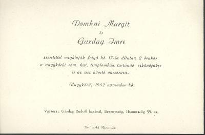 Dombai Margit és gazdag Imre esküvői meghívója