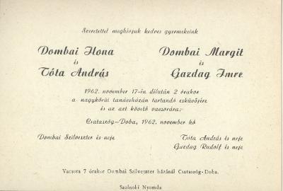 Dombai Ilona és Tóta András valamint Dombai Margit és Gazdag Imre esküvői meghívója