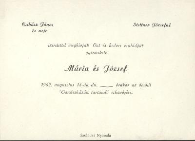 Csikász Mária és Stettner József esküvői meghívója