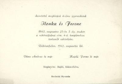 Dénes Ilonka és Hajdú Ferenc esküvői meghívója