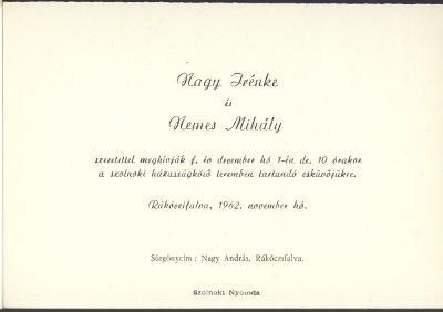 Nagy Irénke és Nemes Mihály esküvői meghívója