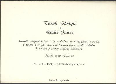Török Ibolya és Czakó János esküvői meghívója