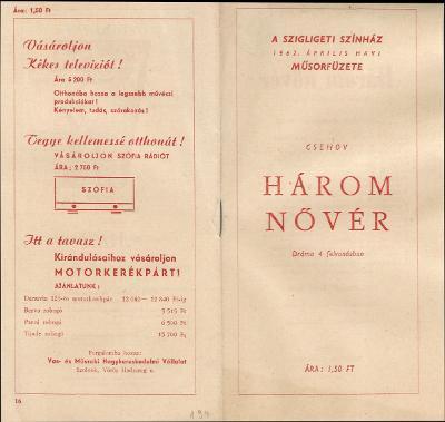 A Szigligeti Színház 1962. április havi műsorfüzete